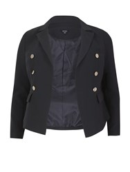 Samya Plus Size Fitted Classic Buttoned Jacket Navy