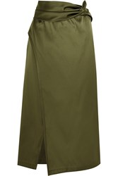 3.1 Phillip Lim Wrap Effect Satin Skirt Army Green