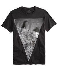 Guess Men's Two Tone Graphic Print T Shirt Jet Black Multi