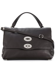Zanellato Foldover Satchel With Silver Tone Hardware Details Leather Brown