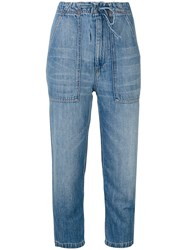 Vince Cropped Jeans Cotton Linen Flax Blue