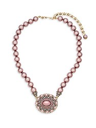 Heidi Daus Oval Beaded Crystal Pendant Necklace Pink