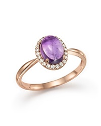 Bloomingdale's Amethyst Cabochon And Diamond Oval Ring In 14K Rose Gold