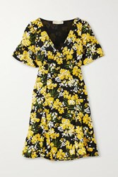 Michael Michael Kors Floral Print Crepe Mini Dress Yellow