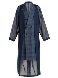 Toga Oversized Double Breasted Mesh Trench Coat Navy