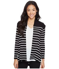 Vince Camuto Specialty Size Petite Long Sleeve Clipper Stripe Panel Cardigan Rich Black Women's Sweater