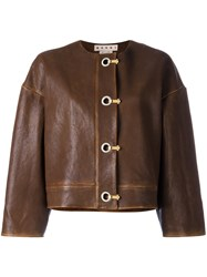 Marni Leather Hook And Eyelet Jacket Brown