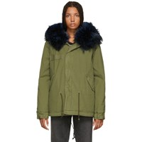 Mr And Mrs Italy Green Blue Quilted Fur Jacket