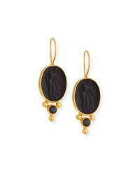 Dina Mackney Italian Glass And Spinel Drop Earrings Black