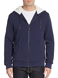 Madison Supply Faux Fur Trimmed Hoodie Navy