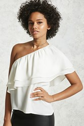 Forever 21 One Shoulder Flounce Top Ivory