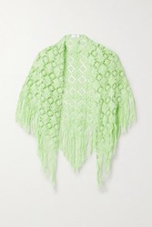 Miguelina Kiana Fringed Crocheted Cotton Shawl Green