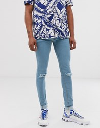 Soul Star Skinny Fit Deo Jeans In Light Blue With Rips