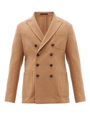 The Gigi Ziggy Double Breasted Wool Herringbone Blazer Camel