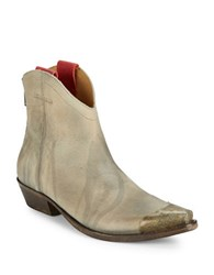 Free People Lost Trail Leather Capped Toe Ankle Boots Light Grey