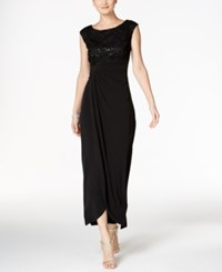 Connected Sequined Rosette Faux Wrap Gown Black