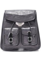 Rag And Bone Metallic Leather Backpack Dark Gray