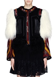 Chloe Leather Embroidery Wool Tapestry Shearling Coat Multi Colour