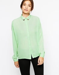 Paisie Raglan Sleeve Shirt With Studded Collar Mint