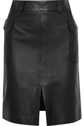 Iris And Ink Patsy Leather Mini Skirt Black