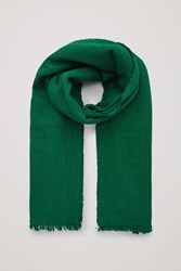 Cos Textured Wool Silk Scarf Green
