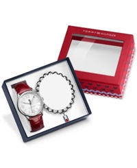 Tommy Hilfiger Women's Red Croc Embossed Leather Strap Watch 38Mm And Bracelet Gift Set 1770010