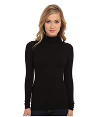 Three Dots 2X1 Viscose L S Turtleneck Black Women's Long Sleeve Pullover