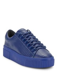Kendall Kylie Leather Lace Up Platform Sneakers Blue