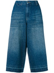 Twin Set Cropped Denim Trousers Blue