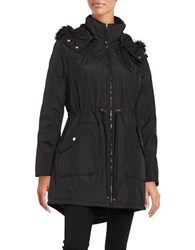 Jessica Simpson Faux Fur Trimmed Water Resistant Hooded Parka Black
