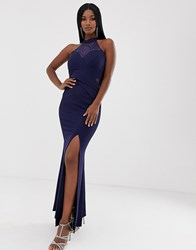 Lipsy Halterneck Fishtail Maxi Dress With Sequin Detail In Navy