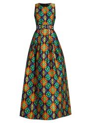 Andrew Gn Geometric Print Sleeveless Gown Green Multi