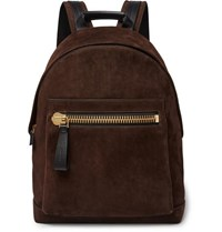 Tom Ford Buckley Leather Panelled Suede Backpack Dark Brown