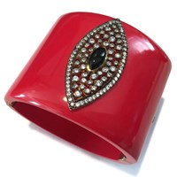 Meghna Jewels Evil Eye Red Marquise Cuff