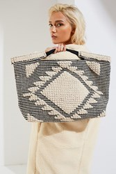 Urban Outfitters Textured Weave Tote Bag Black Multi