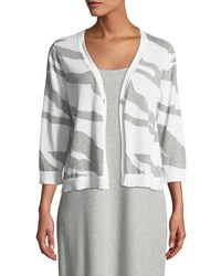Joan Vass Single Button 3 4 Sleeve Zebra Patterned Cardigan Grey Heather Whit