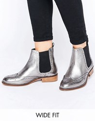 Dune Wide Fit Quenton Pewter Leather Brogue Chelsea Boots Pewter Leather Silver