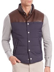 Brunello Cucinelli Half Leather Quilted Vest Ink