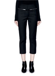 Ms Min Zip Trim Wool Cropped Pants Black
