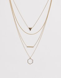 Pieces Triple Necklace In Gold