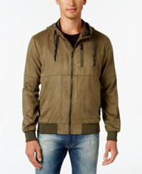 Sean John Men's Big And Tall Suede Hooded Jacket Grapeleaf