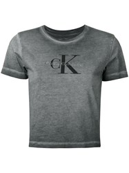 Calvin Klein Jeans Washed Out Logo T Shirt Women Cotton Xs Grey