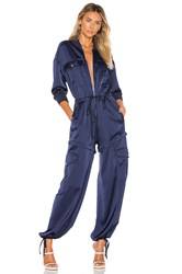 Kendall Kylie Satin Convertible Cargo Jumpsuit Navy