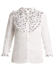 Jupe By Jackie Fairy Floral Embroidered Cotton Organza Shirt White