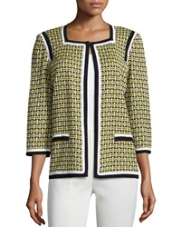 Misook Kaley Geometric Print 3 4 Sleeve Jacket Yellow Black