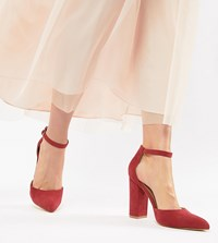 Truffle Collection Pointed Block Heels Red