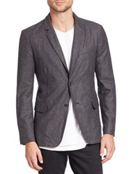 Rag And Bone Solid Blended Wool Blazer Charcoal