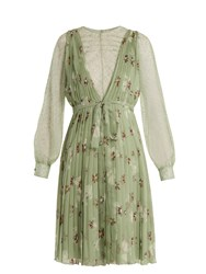 Valentino Floral Print Lace Trimmed Silk Chiffon Dress Green Print
