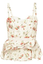 Brock Collection Tuty Ruffled Floral Print Silk Bustier Top Cream