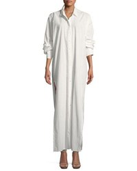 Urban Zen Lantern Sleeve Side Slit Shirtdress Ivory